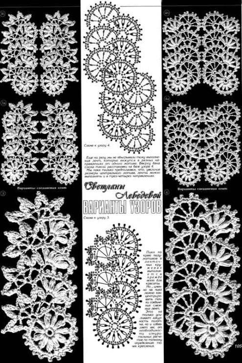 Описание: схемы вязания ленточного кружева.
