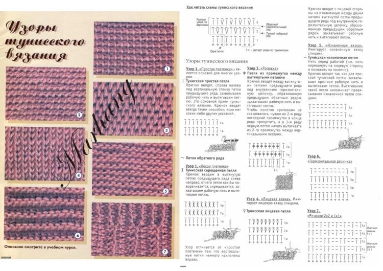 Тунисское вязание...УЗОРЫ.