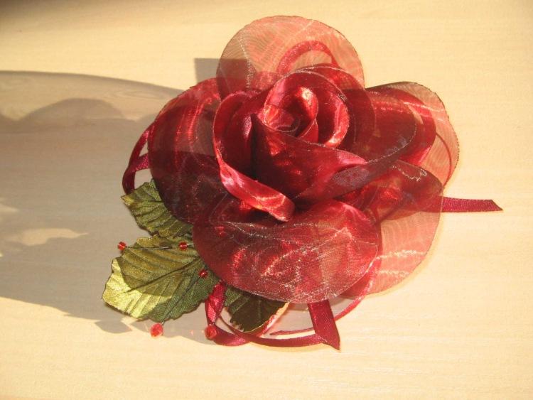 Роза из органзы своими руками фото 2