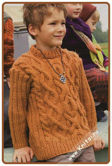 Вязание детского свитера с косами