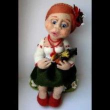 Игрушка Валяние (фильцевание): валяная кукла солоха Шерсть.