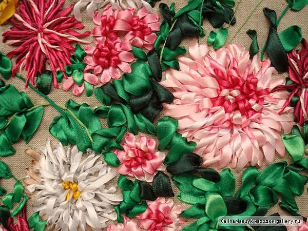 вышивки лентой(хризантема)