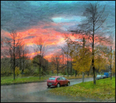 Осенний закат на Счастливой улице.