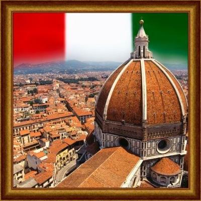 Флаг Италии над собором Санта-Мария дель Фьоре (Флоренция).
