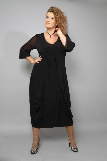 Черное платье для полных.