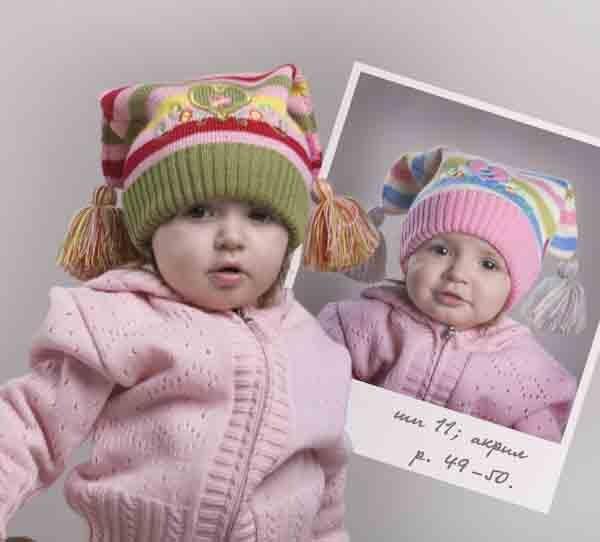 красивая зимняя шапочка спицами на девочку 3 года.