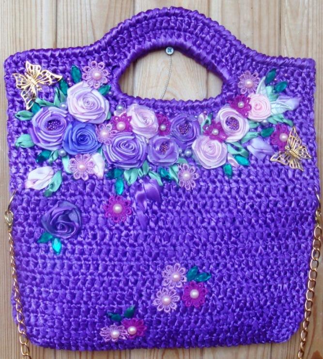 сумки из атласных лент