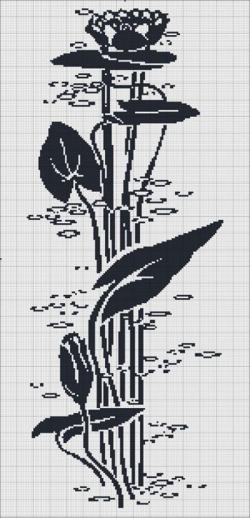 Lilia (150=310) Монохромная схема вышивки лилии.  Природа.
