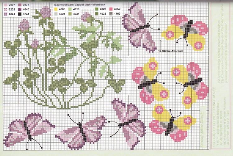 Вышивка крестиком бордюр из мелких цветочков 8