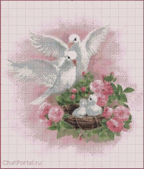 Птицы(вышивка)голуби