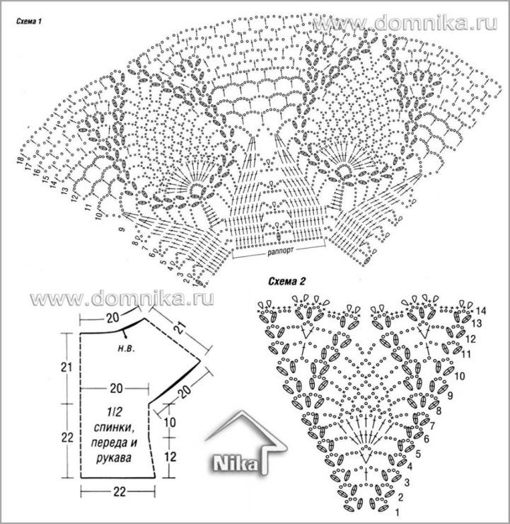 бесплатная схема вязания крючком летней кофты на кокетке. бесплатная схема
