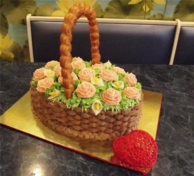 Торты в форме корзины с цветами