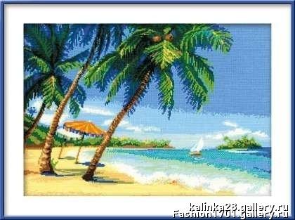 Набор для вышивания Риолис Морской пейзаж с пальмами (30х40 см). Морской пейзаж с пальмами - набор для вышивания...
